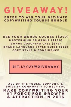 Copywriting Course GIVEAWAY! The ultimate copywriting resource for brands who want to make their copy their #1 force for growth & attraction in 2016! // copywriting for bloggers, blogging tips