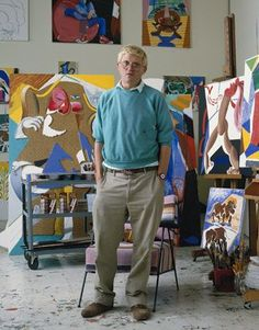 David Hockney in his studio 1988
