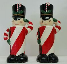 Vintage Christmas Salt and Pepper Candy Cane Toy Soldiers JAPAN