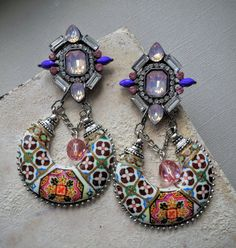 Portugal Antique Azulejo Tile Chandelier Earrings  by Atrio