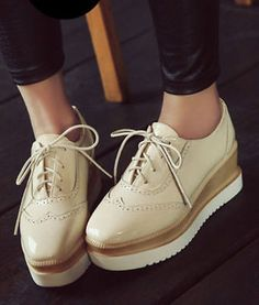 Womens College Girls Wedge Heels Platform Creeper Shoes Lace Up Wing Tip Pumps