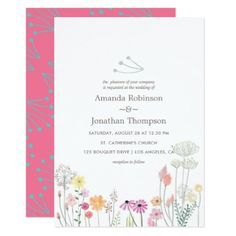 Colorful Spring Watercolor Floral Wedding invite - wedding invitations cards custom invitation card design marriage party