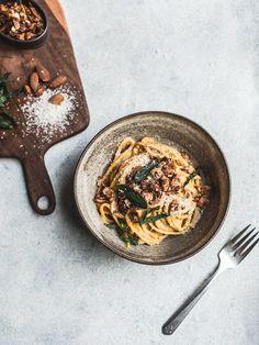 Vegan Butternut Squash 'Carbonara' with Coconut Bacon + Crispy Sage - Izy Hossack - Top With Cinnamon