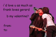 This is just gonna be fun fact hour okay mcr Funny Valentines Cards, Valentine Images, My Chemical Romance, Emo Pictures, Emo Pics, Pinterest Valentines, Emo Love, Music Memes, Band Memes