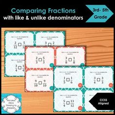 Comparing Fractions with like and unlike denominators Task Cards. 32 task card set. Allows students practice:Comparing Fractions with like denominators (12 task cards)Comparing Fractions with unlike denominators (20 task cards)Includes answer keyClick on the preview for more details! Made for 3rd-5...