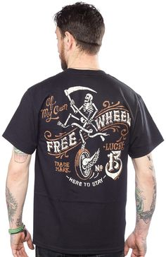LUCKY 13 FREE WHEEL T SHIRT Take a ride on the wild side! The grim reaper is hot on your heels in this black screened t-shirt by Lucky 13. Featuring front chest logo and full back screen, this shirt is here to stay! $25.00 #lucky13 #guys #tee #reaper #skeleton