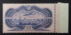 France 1936 - Airmail 50 f. reversed burelage, BDF dated, Signed Calves with digital certificate - Yvert n° 15b