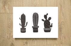 Affiche cactus noir et blanc à imprimer Illustration par Godiche