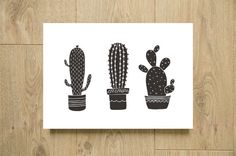 Printable black and white cactus poster - Illustration flowerpot - Kitchen art wall decor - 8*10 & A4 size - JPEG and PDF - Instant download
