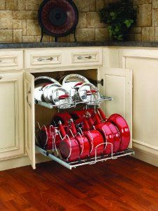 """Amazon.com - Rev-A-Shelf 5CW2-2122-CR Chrome 5CW2 5CW2 Series 21"""" Two-Tier Pull Out Cookware Organizer 5CW2-2122 - Cabinet Pull Out Organizers"""