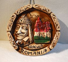 DRACULA SOUVENIR PLAQUE Hand-Crafted in ceramic from Horezu, Romania
