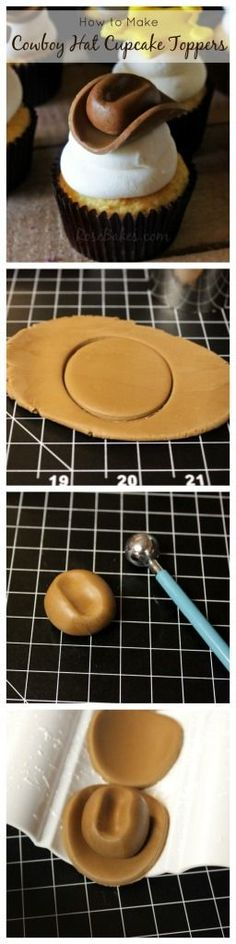 How to Make Cowboy Hat Cupcake Toppers Collage (Chocolate Fondant Rose Tutorial) Fondant Toppers, Fondant Cakes, Cupcake Toppers, Fondant Rose, Fondant Flowers, Fondant Baby, Fondant Figures, Cupcake Fondant, Cake Decorating Tutorials