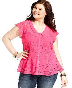 6edd5b25c0b06 Jessica Simpson Plus Size Sleeveless Cutout Peplum Shirt Plus Sizes - Tops  - Macy s