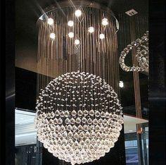 47in Large Modern Sphere Round Crystal Pendant Lamp Ceiling Lighting Chandelier | eBay