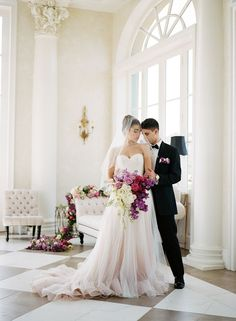 Glamorous wedding inspiration in New Orleans featuring our 'Florence' ombre ballgown! #pinkweddingdress #weddingideas #weddingdresses