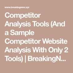 Steps To Performing A Competitive Analysis  Establishing Your