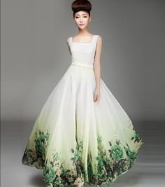 Two-piece White Green Floral A-line Dress Bohemian Boho Chic Wedding Bridesmaid Maxi Full Pleated Skirt Ball Gown Evening Prom Party Event