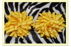 Yellow SET (2) KORKER HAIR BOWS with Alligator Clips #Handmade