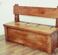 DIY Storage Ideas For Organizers - Unity Fashion Hallway Storage Bench, Garden Storage Bench, Storage Bench Seating, Bench With Storage, Diy Storage, Storage Baskets, Bench Furniture, Rustic Furniture, Rustic Bench