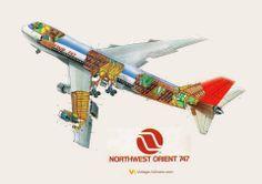 Northwest Orient 747 cutaway