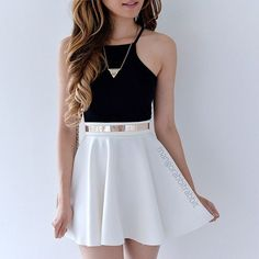 I love this look. Black crop top/tank, a white skater skirt, accessorized perfec… I love this look. Black crop top/tank, a white skater skirt, accessorized perfectly with a simple gold necklace and a matching belt. Teen Girl Fashion, Girls Fashion Clothes, Teen Fashion Outfits, Cute Fashion, Fashion Women, Preteen Fashion, Celebrities Fashion, Fashion Spring, Cheap Fashion