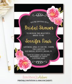 Free printable floral bridal shower invitation templates pinterest black white stripe bridal shower invitation floral bridal shower invite pink watercolor florals chalkboard printable filmwisefo