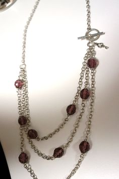 Multi Strand Aubergine Purple Bead Necklace Made in by LinksLocks, $20.00