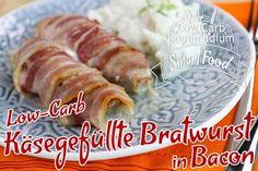 Low-Carb käsegefüllte Bratwurst in Bacon mit Blumenkohlpüree - So lässt sich aus einfachen Zutaten ein pfiffiges Low-Carb Gericht ohne Kohlenhydrate zaubern