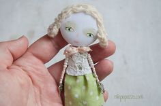 Art Doll Brooch Girl mixed media collage gift for by miopupazzo