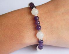 Meditation Mala Bracelet for Women - Amethyst & White Snow Jade by LisbonGems, $25.00