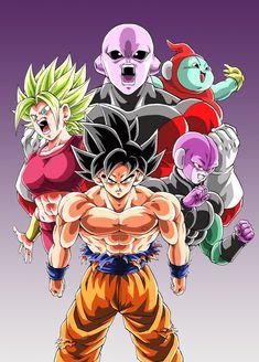 Goku, Kefla, Jiren, Ribrianne, and Hit