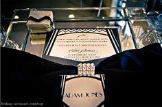 gatsby inspired wedding, art deco wedding menu design, place card. photo by @Yvonne Denault