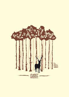 Florestas, eco sustentabilidade e a natureza nunca saem de moda. Este é um trabalho de ilustração re camisetas feito para a marca de skateboard Sweet Wood.