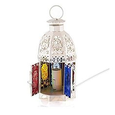 AOTOSOLO Iron Moroccan Style Matte Electric Lantern Bedside Table Lamp, Handmade Intricate Cast Cutouts Electric Square Lantern Night Lamp, with Multicolor Textured Glass Bedside Table Lamps, Candle Holders, Lanterns, Glass Texture, Table Lamp, Night Lamps, Multicolor, Touch Lamp, Moroccan Style