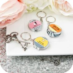 Custom Compact Mirror Keychain - birthday favors - party favors - Sweet 16 party