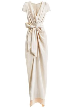 Brides.com: How to Find the Perfect Wedding Dress for Your Body Type. Wedding Dresses for Hourglass Body Types: BHLDN. This softly draped, retro-inspired dress flatters your curves in all the right places. The feminine sash is the perfect waist-cincher.  Crepe-de-chine column dress with charmeuse sash, style 21115951, BHLDN  Browse more V-neck wedding dresses.