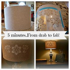 #stenciled lamp shade in 5 minutes! Other easy #stenciling ideas for you too.