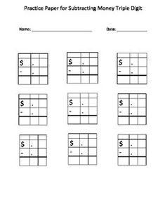 Autism Math: Blank Practice Sheet for Subtracting Money (T