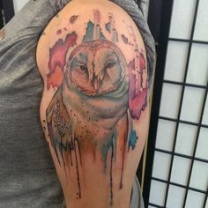 watercolor owl by JohnnyJinx @ the Broken Clover Social Club in beautiful Tucson, AZ.