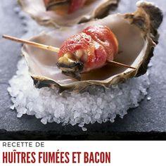 Égoutter les huîtres de leur huile. Couper les tranches de bacon en deux. #recettedhuitre #huitrefumees #huitreaubacon Bacon, Pudding, Desserts, Food, Tailgate Desserts, Deserts, Custard Pudding, Essen, Puddings