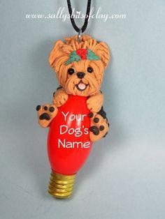 Yorkie Yorkshire Terrier Dog Christmas Light Bulb Ornament...this is sooo cute