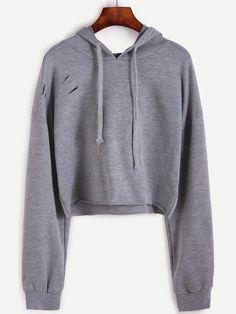 Drop Shoulder Ripped Drawstring Hooded Crop Sweatshirt Mobile Site