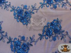 Mesh Sequin Cording Floral Lace Fabric BLUE / 51 by FabricEmpire, $14.50