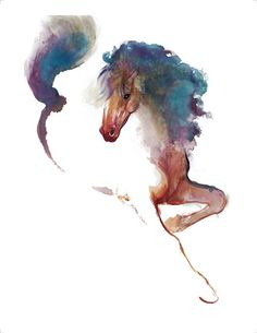 'Colour Horse Glide' By William Papas (Band A). Brown watercolor horse with blue mane tattoo design Watercolor Paintings Of Animals, Watercolor Horse, Animal Paintings, Horse Paintings, Horse Drawings, Wow Art, Equine Art, Horse Art, Horse Horse