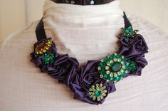 Emerald and Navy Statement Necklace. $145.00, via Etsy.
