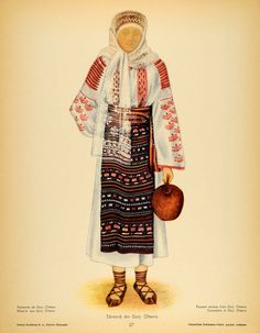 1937 Costume Peasant Woman Oltenia Romania Prints SET - ORIGINAL COS5 Traditional Dresses, Traditional Art, Folk Costume, Costumes, Ethnic Diversity, Fashion D, Free Black, Textile Patterns, Anthropology