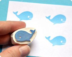 Whale hand carved rubber stamp by Memi The Rainbow, via Flickr