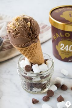 Add graham crackers, marshmallows, and chocolate to Halo Top Chocolate Ice Cream for S'more fun!
