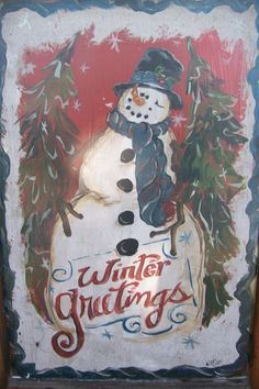Hand painted snowman window by casey sims Snowman Pics, Snowmen Pictures, Snowman Party, Snowman Crafts, Christmas Snowman, Winter Christmas, Holiday Crafts, Window Panes, Window Screens