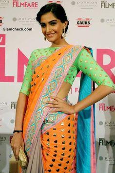 Sonam Kapoor in Neon Manish Arora Sari 2013